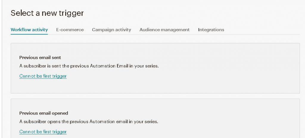 MailChimp Automation Trigger Menu - May 2020