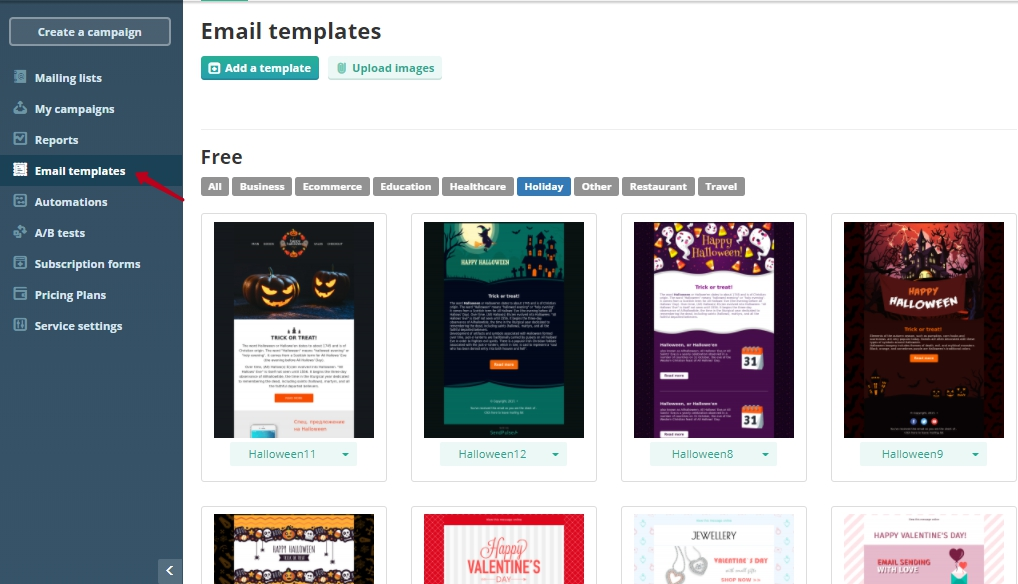 sendpulse email-templates-free